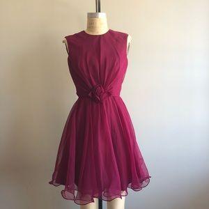 Vintage 1960's Burgundy Chiffon Sleeveless Dress